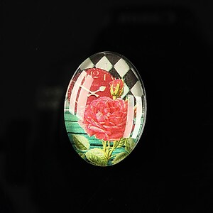 "Cabochon sticla 25x18mm ""Time flowers"" cod 198"