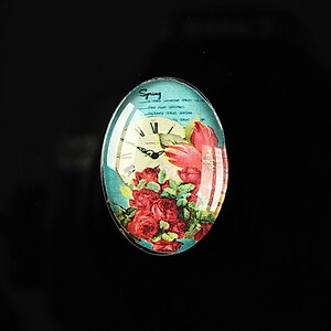 "Cabochon sticla 25x18mm ""Time flowers"" cod 199"