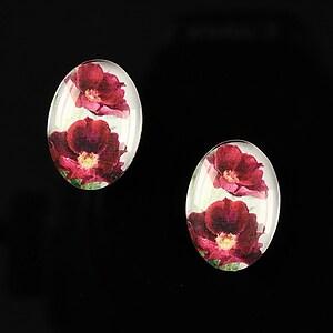 "Cabochon sticla 18x13mm ""Flower love"" cod 220"