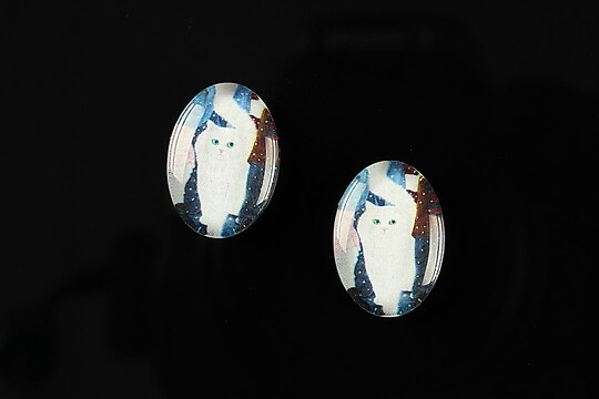 "Cabochon sticla 18x13mm ""Best friends"" cod 230"
