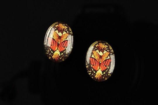 "Cabochon sticla 18x13mm ""Butterfly effect"" cod 237"