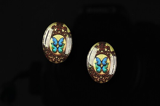 "Cabochon sticla 18x13mm ""Butterfly effect"" cod 238"