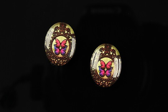 "Cabochon sticla 18x13mm ""Butterfly effect"" cod 239"