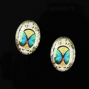 "Cabochon sticla 18x13mm ""Butterfly effect"" cod 240"