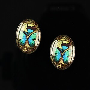 "Cabochon sticla 18x13mm ""Butterfly effect"" cod 241"