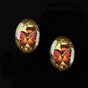 "Cabochon sticla 18x13mm ""Butterfly effect"" cod 242"
