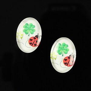 "Cabochon sticla 18x13mm ""Lucky ladybug"" cod 251"
