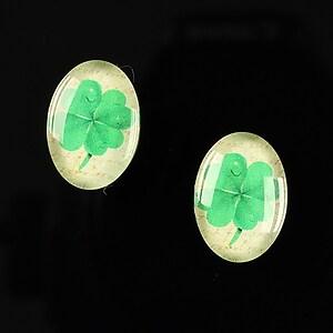 "Cabochon sticla 18x13mm ""Lucky ladybug"" cod 250"