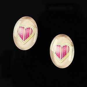 "Cabochon sticla 18x13mm ""Heart it"" cod 248"