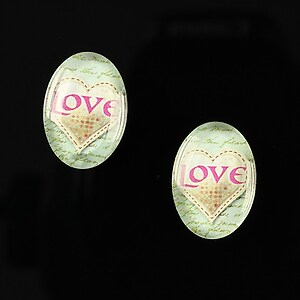 "Cabochon sticla 18x13mm ""Heart it"" cod 247"