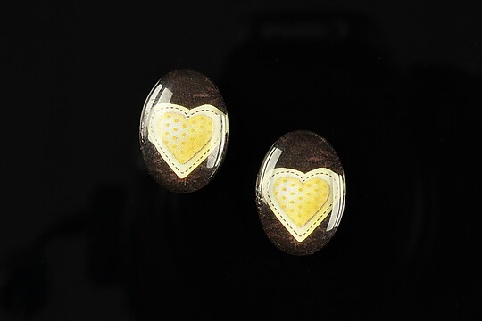 "Cabochon sticla 18x13mm ""Heart it"" cod 246"