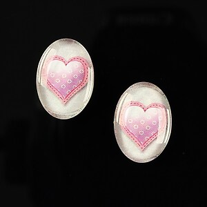 "Cabochon sticla 18x13mm ""Heart it"" cod 245"