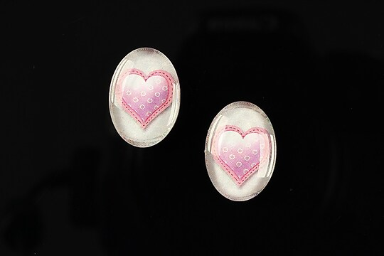 "Cabochon sticla 18x13mm ""Heart it"" cod 245"
