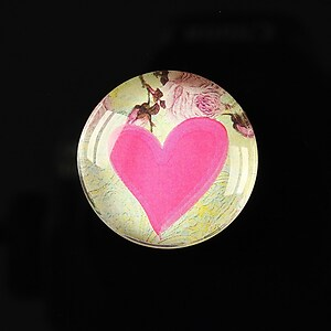 "Cabochon sticla 25mm ""Pink hearts"" cod 272"