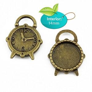 Baza cabochon, charm cu ceas bronz 25x18mm, interior 14mm