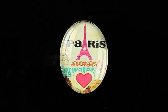 """Cabochon sticla 30x20mm """"Sunset in Paris"""" cod 294"""