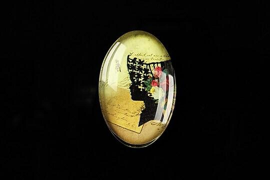 "Cabochon sticla 30x20mm ""Woman portrait"" cod 292"