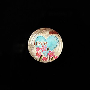 "Cabochon sticla 18mm ""Love letters"" cod 315"