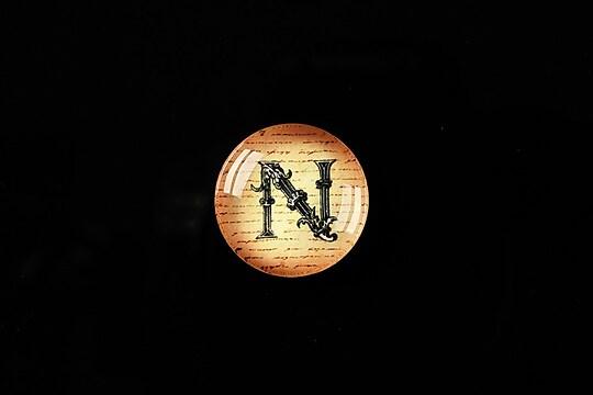 "Cabochon sticla 18mm ""Antique alphabet  - N"" cod 340"