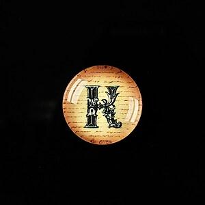 """Cabochon sticla 18mm """"Antique alphabet  - K"""" cod 343"""