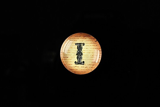 "Cabochon sticla 18mm ""Antique alphabet  - I"" cod 345"