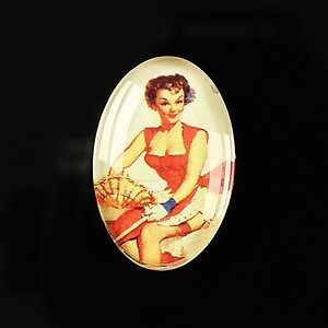 "Cabochon sticla 30x20mm ""Pin up girls"" cod 280"