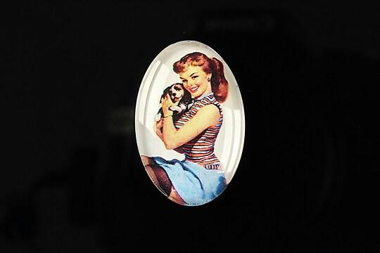 """Cabochon sticla 30x20mm """"Pin up girls"""" cod 277"""