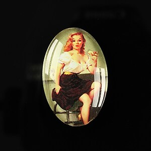 "Cabochon sticla 30x20mm ""Pin up girls"" cod 276"