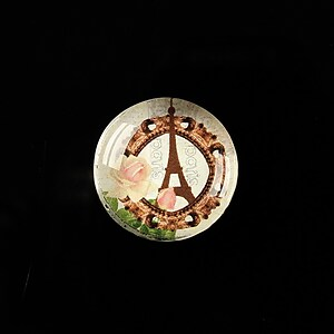 "Cabochon sticla 20mm ""J'adore Paris"" cod 363"