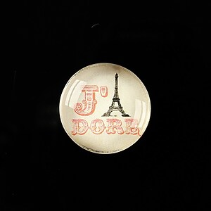 "Cabochon sticla 20mm ""J'adore Paris"" cod 364"