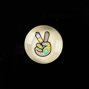 "Cabochon sticla 20mm ""All about hippie"" cod 373"
