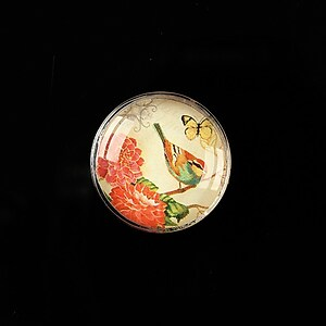 "Cabochon sticla 20mm ""Postage stamp"" cod 375"