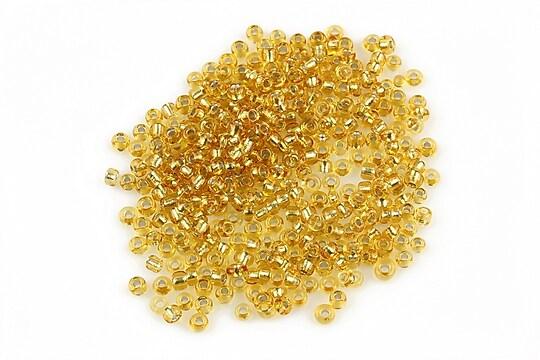 Margele de nisip 2mm cu foita argintie (50g) - cod 044 - auriu