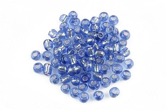 Margele de nisip 4mm cu foita argintie (50g) - cod 076 - albastru