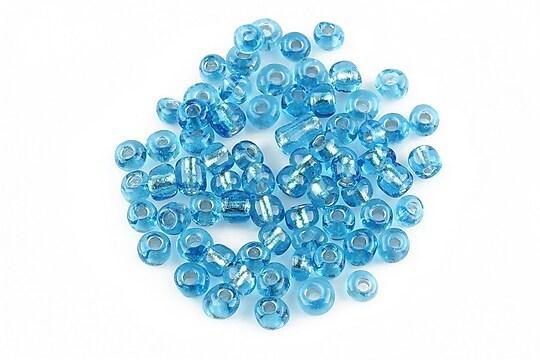 Margele de nisip 4mm cu foita argintie (50g) - cod 125 - albastru