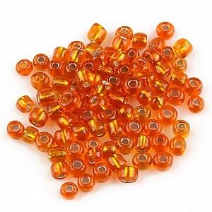 Margele de nisip 4mm cu foita argintie (50g) - cod 079 - portocaliu inchis