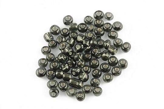 Margele de nisip 4mm cu foita argintie (50g) - cod 081 - gri