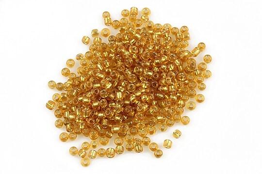 Margele de nisip 2mm cu foita argintie (50g) - cod 267 - auriu inchis