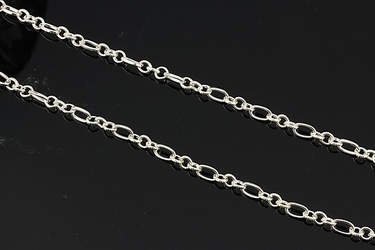Lant argintiu 7x3,5+4,5x3,5mm (49cm)