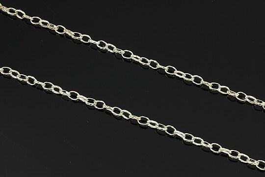 Lant argintiu cu zale gravate 5x3,3mm (49cm)