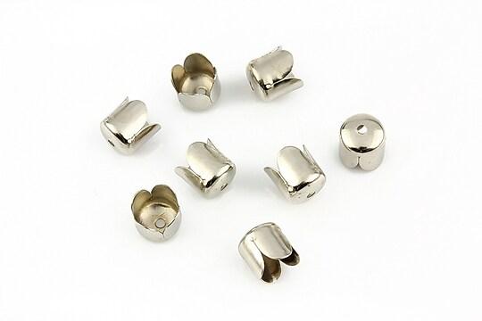 Capacele margele argintiu inchis lalea 7mm