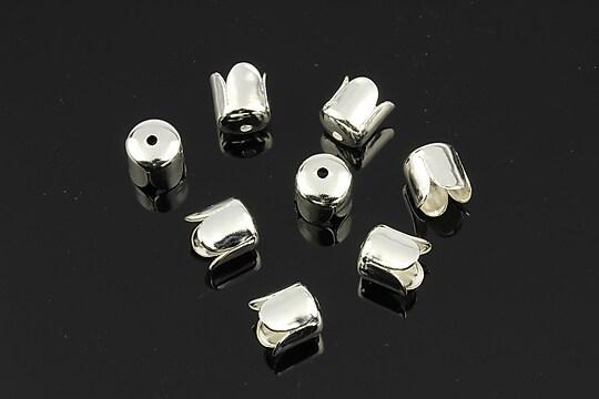 Capacele margele argintii lalea 7mm