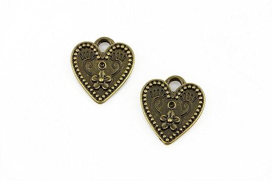Charm bronz inima cu orificiu pentru rhinestones 19x16mm