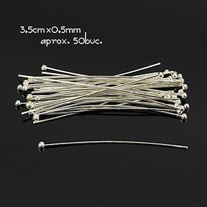 Ace cu bila argintii 3,5cm, grosime 0,5mm (50 buc.)