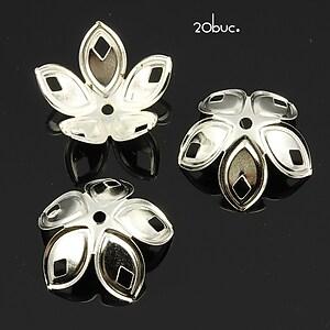 Capacele filigranate argintii floare 18x8mm (20buc.)