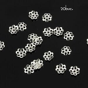 Capacele filigranate argintii 6mm (20buc.)