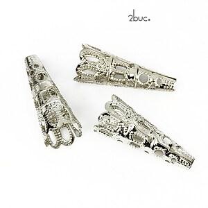 Capacel filigranat argintiu inchis, con 22x9mm (2buc.)