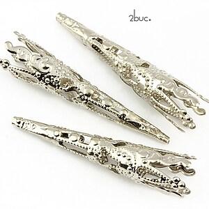 Capacele conice filigranate argintiu inchis 41x8mm (2 buc.)