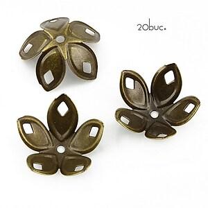 Capacele filigranate bronz floare 18x8mm (20buc.)