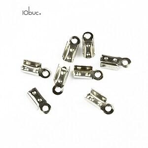 Capat snur argintiu inchis latime 3mm (3x10x4mm) (10buc.)